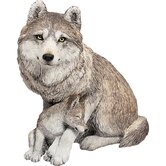 Forever Friends Wolf and Pup Sculpture in Gray
