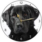 Black Labrador Dog Round Wall Clock