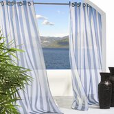 Outdoor D&eacute;cor Escape Outdoor Sheer Stripe Grommet Top Curtain Panel in Blue