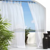 Outdoor Décor Escape Outdoor Sheer Velcro Tab Top Curtain Panel in White