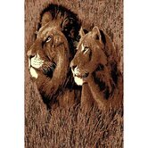 African Adventure Lion and Li1ss Head Novelty Rug