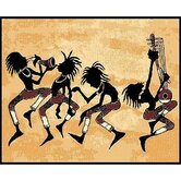 African Adventure Tribal Dance Novelty Rug