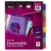 8 Count Assorted Colors Big Tab Insertable Plastic Reference Divider