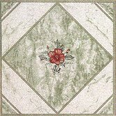 Vinyl Light Green/ Red Flower Floor Tile (Set of 20)