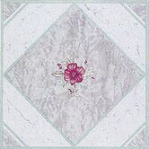 Vinyl Light Taupe / Pink Flower Floor Tile (Set of 20)
