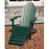 Lifestyle Poly Resin Curved  Back Adirondack Chair with Foot Rest