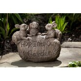 Rabbit Welcome Garden Stone