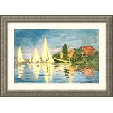 Boating at Argenteuil Silver Framed Print - Claude Monet