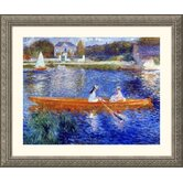 The Seine at Asnieres Silver Framed Print - Pierre Auguste Renoir