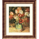 Vase with Tulips Bronze Framed Print - Pierre Auguste Renoir
