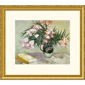Still Life: Vase with Oleanders and Books Gold Framed Print - Vincent van Gogh