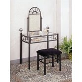 Buckeye Sunburst Design Vanity Set with Stool in Black