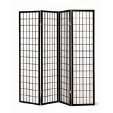 Quincy Four Panel Japanese Style Folding Screen in Black