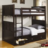 Twin over Twin Bunk Bed with Built-In Ladder and Storage