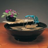 Ceramic Nature Bowl Tabletop Fountain in Black
