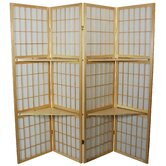 "65"" Window Pane Room Divider with Shelf in Natural"