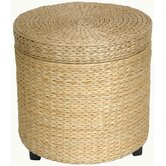 Rush Grass Storage Footstool in Natural