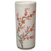 "18"" Cherry Blossom Umbrella Stand in Off White Crackle"