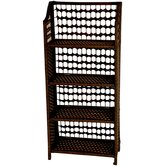 "43"" Natural Fiber Shelving Unit in Mocha"