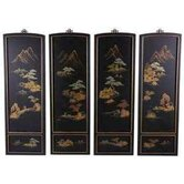 Japanese Landscape Wall Plaques in Clear