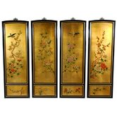 Golden Birds and Flowers Wall Plaques in Clear