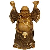"12"" Standing Prosperity Buddha Statue in Faux Wood Carved"