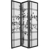 72&quot; Double Crossed Bamboo Tree Room Divider in Black