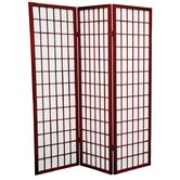 5 Feet Tall Window Pane Shoji Screen in Rosewood