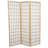 5 Feet Tall Window Pane Shoji Screen in Natural