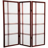 4 Feet Tall Double Cross Shoji Screen in Rosewood