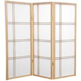 4 Feet Tall Double Cross Shoji Screen in Natural
