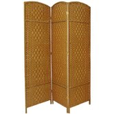 6 Feet Tall Diamond Weave Fiber Room Divider in Light Beige