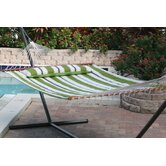 Santorini Premium Reversible Two Person Fabric Quilted Hammock with Stand