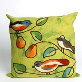 Song Birds Square Indoor/Outdoor Pillow in Green