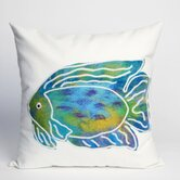 Batik Fish Square Indoor/Outdoor Pillow in Aqua