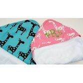 Terry Velour Hooded Towel with Giraffe Fabric Border
