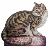 Tabby Cat Wooden Decorative Dog Doorstop