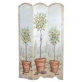 Tuscan Topiary Oversized 3 Panel Decorative Room Screen