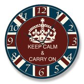 Round Keep Calm and Carry On Wall Clock