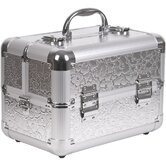Floral Pattern 2 Tiered Makeup Train Case