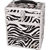 Zebra Textured Printing Jewelry and Makeup Case with Mirror