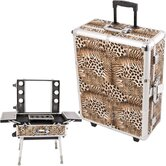 Leopard Pattern Professional Rolling Studio Makeup Train Case