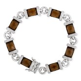 Faceted Simulated Smoked Topaz (.925) Sterling Silver Bracelet