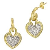 Designer Inspired Gold Vermeil Heart Hanging Earrings