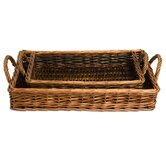 Natural Home Willow Rectangular Serving Trays (Set of 2)