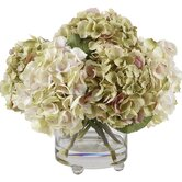 Glass Vase with Lavender and Green Hydrangeas