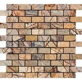 "1"" x 2"" Tumbled Marble Mosaic in Rain Forest Brown"