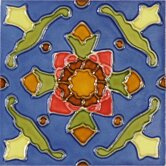 Mission 6&quot; x 6&quot; Hand-Painted Ceramic Decorative Tile in Cactus