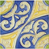 "Mission 6"" x 6"" Hand-Painted Ceramic Decorative Tile in Circulo"