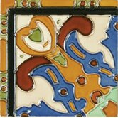 "Mission 6"" x 6"" Hand-Painted Ceramic Decorative Tile in Figuras"